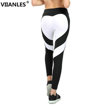 VIIANLES Fitness Legging Love Stitching Leggings Put Hip Elastic Waist Leggins High Waist Pants Stitching XXXL Large Size Pants