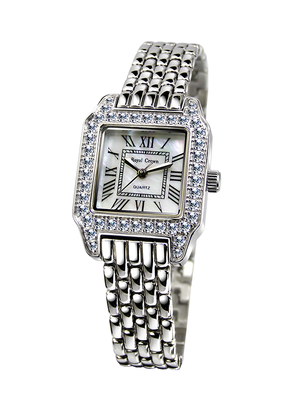 Royal Crown Jewelry Watch 6104LS Italy brand Diamond Japan MIYOTA platinum Fine Fashion Square Hours pearl Bracelet Rhinestone royal crown jewelry watch 3632 italy brand diamond japan miyota platinum dress colorful bracelet brass rhinestone