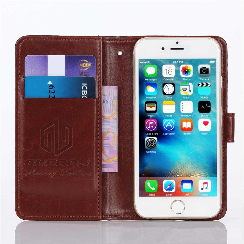 GUCOON Vintage étui portefeuille pour Beeline Fast 2 5.0 pouces PU cuir rétro Flip couverture magnétique coques tendance béquille sangle