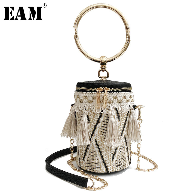 [EAM] 2019 New Spring Summer Women 3 Color Braided Bucket Type Fashion Tide Removable Multifunction Wild Accessories LA947