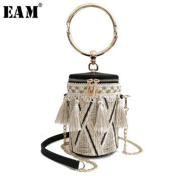 [Eam] 2019 새로운 봄 여름 여성 3 색 꼰 양동이 유형 패션 조수 이동식 다기능 야생 액세서리 la947