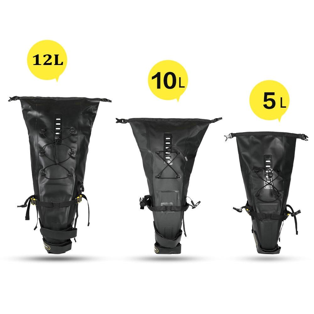 RHINOWALK 10L 12L Full Waterproof Bicycle Saddle Bag Road Mountain Bike Cycling Rear Rack Bag Luggage Pannier Bike Accessories
