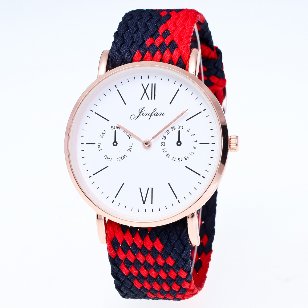 Fashion Women's Watches Design Nylon Woven Men And Women Neutral Watch Student Clockwise Display Dial Leisure  Quartz Watch