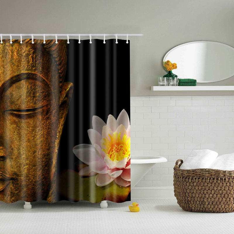 Buddha Shower Curtain Lotus Printed Bathroom Curtain 2017