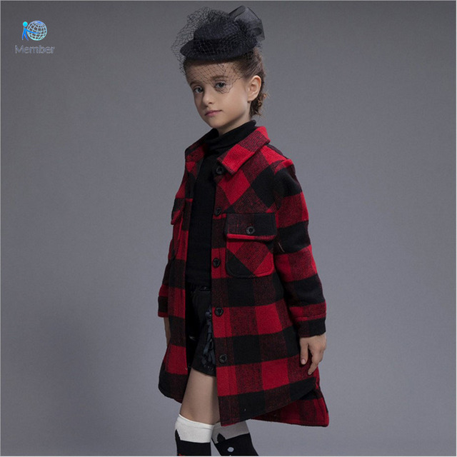 Girls wool winter coats Casual plaid cashmere Children coat woolen girls winter coat kids wool coat girls 30#