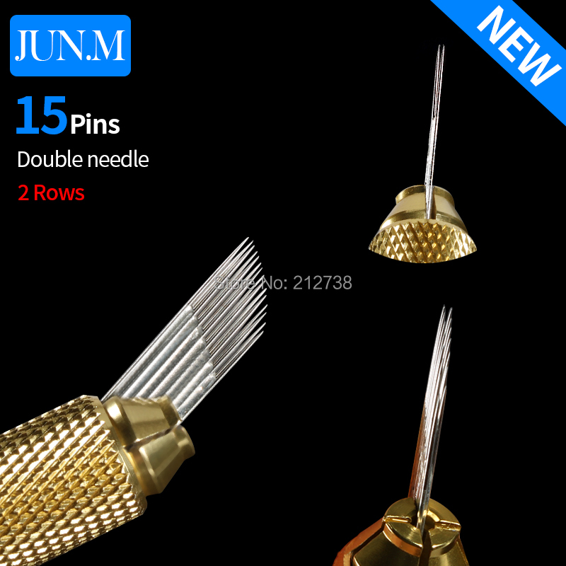 50pcs Permanent Makeup 3D Embroidery Needle 2 Row 15 Pin Needle For Eyebrow Tattoo Microblading Blade Fog Eyebrow Tattoo Needle