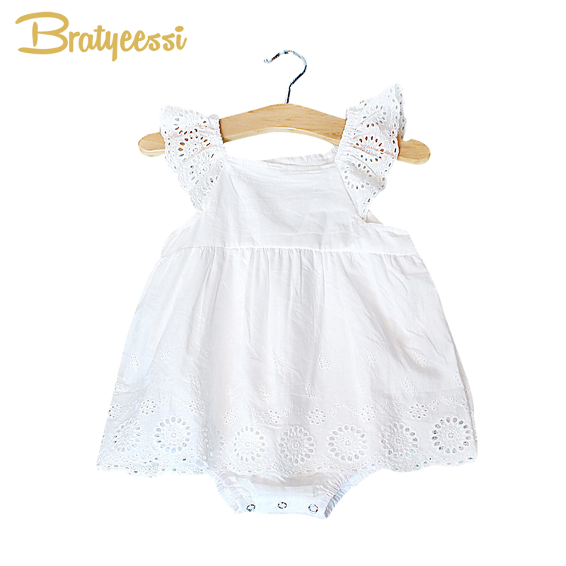 New Lace First Birthday Outfit Girl Romper Dress Summer White Cotton Baby Girl Dresses Party and Wedding Christening Dress цена