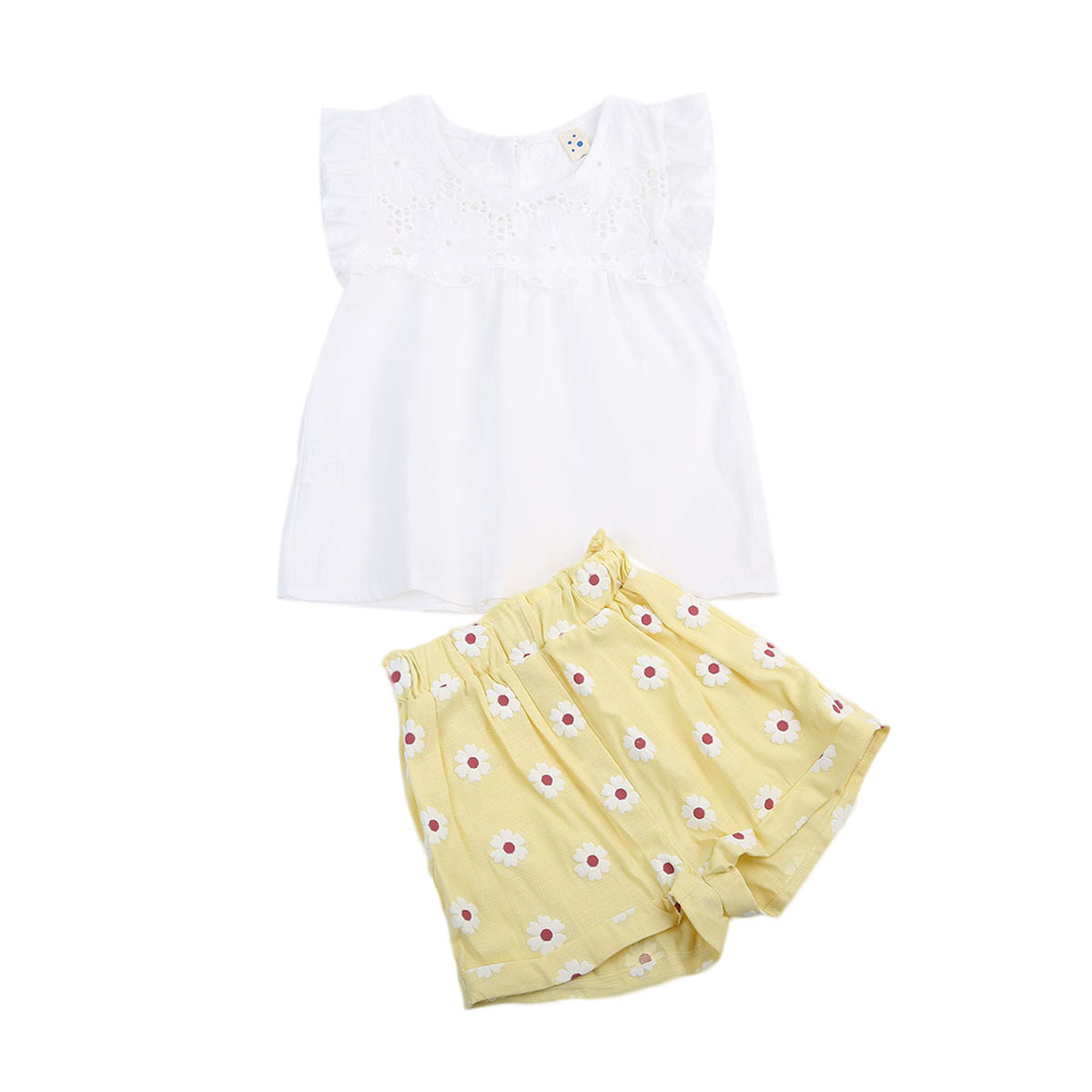 New Style Pretty Toddler Kids Baby Girls Clothes Summer Lace Sleeveless Tops T-shirt+Pants Shorts clothing Set 2-7Y