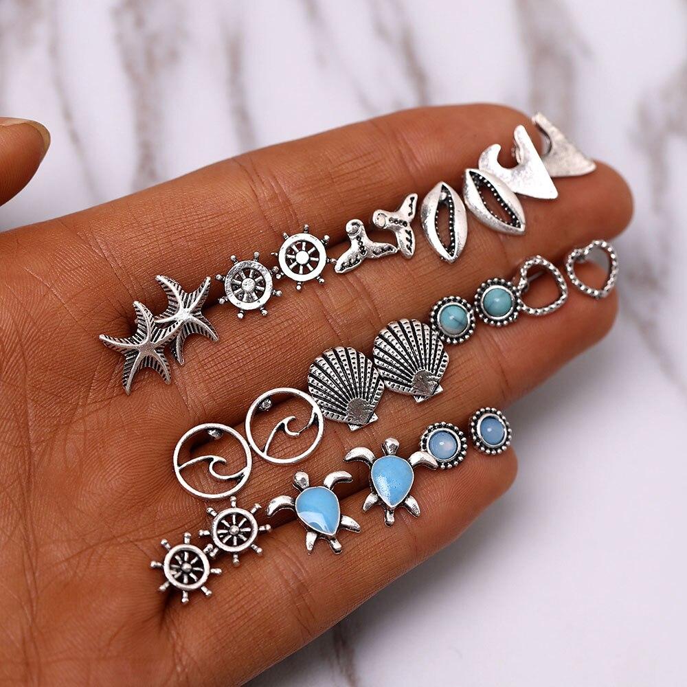 Богемные серьги-гвоздики с морскими звездами, волнами, черепашками, ракушками, искусственными звездами, круглыми сердечками, эффектные укр...