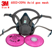 3M 6502+2096 respirator dust mask Genuine security respirator mask against Acid gas particulates Welding dust dust mask