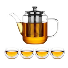 Glass Teapot Set with Infuser for Loose Tea Stove Top Safe Borosilicate Clear Pot 4 Small Cups Gift