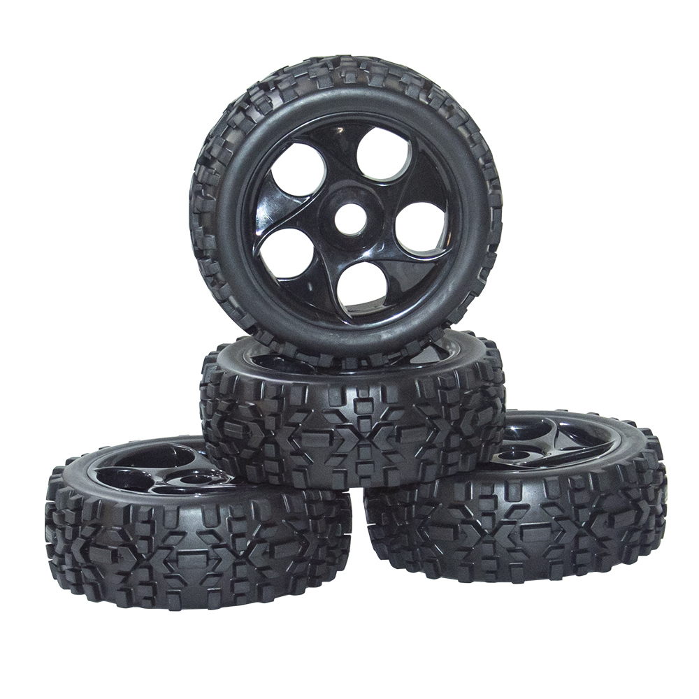 ARC0052 4PCS 1 8 Scale Off Road Car Buggy RC Tires Tyre And Wheels Black Remote