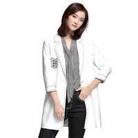 Spring Female New Style Jacket Medium Length Blazer White Three Quarter Sleeve Coat Outfit Women Fashion