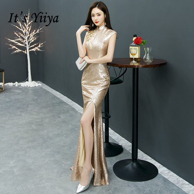 It's YiiYa   Evening     Dresses   Elegant Turtleneck Beading Trumpet Formal   Dress   Royal Sequined Appliques Zipper Back Party Gowns E394