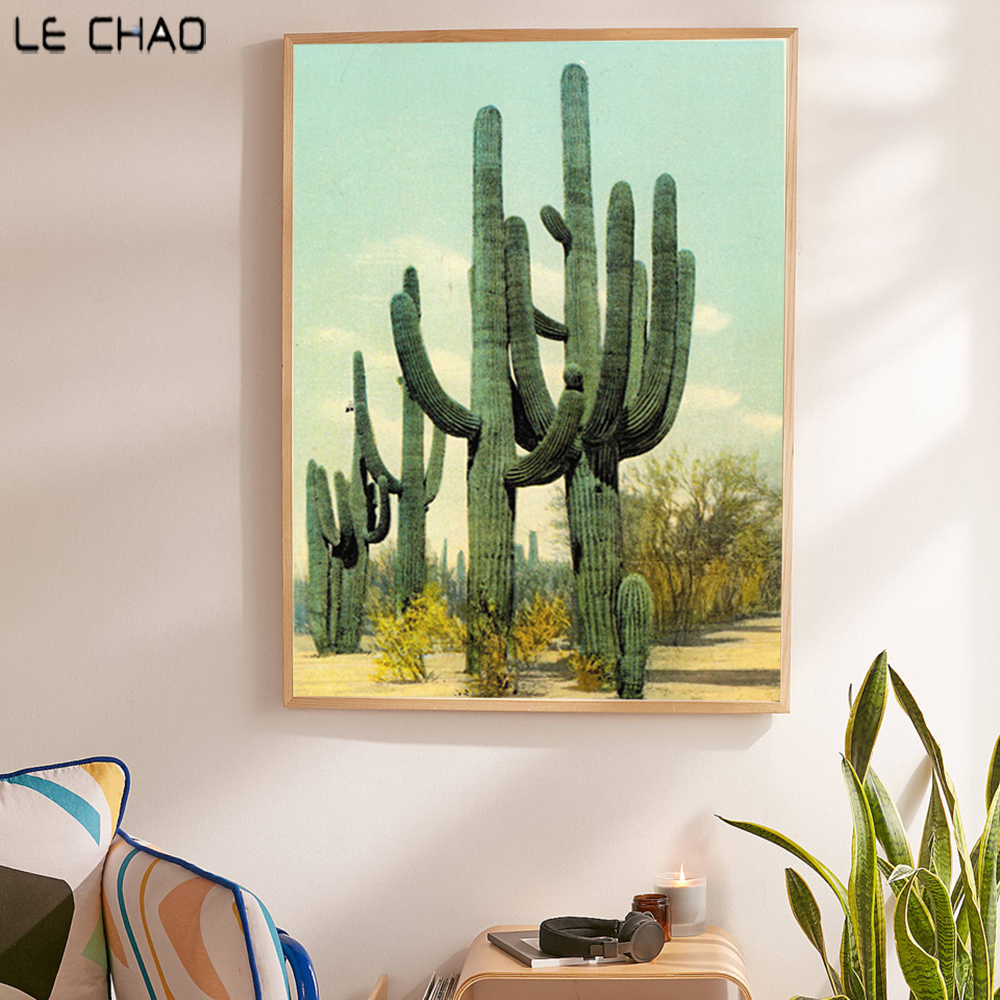 LECHAO Green Cactus Poster And Prints For Living Rooms Desert Canvas Painting Home Decor Wall Art Pictures Unframed