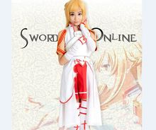 Anime Sword Art Online Asuna Yuuki Cosplay Costume full set + wigs SAO Asuna Cosplay Wig Halloween Skirt 61813