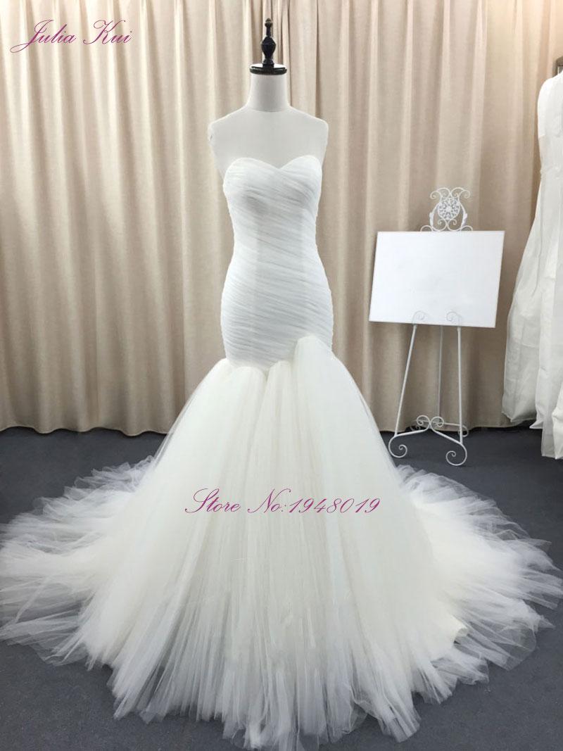 Julia Kui Sleeveless Elegant Mermaid Wedding Dresses Simple Tulle  Mermaid Vestido De Noiva Custom Made Off The Shoulder