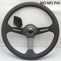 Car Styled Leather Steering Wheel 14 Inch General Steering Wheel Car Modified DIY Volante MOMO PAI