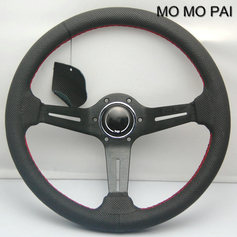 Car styled leather steering wheel / 14 inch general steering wheel / car modified DIY volante MOMO PAI momo pai car styling steering wheel concave peach wood mahogany competitive racing retro abs universal steering wheel