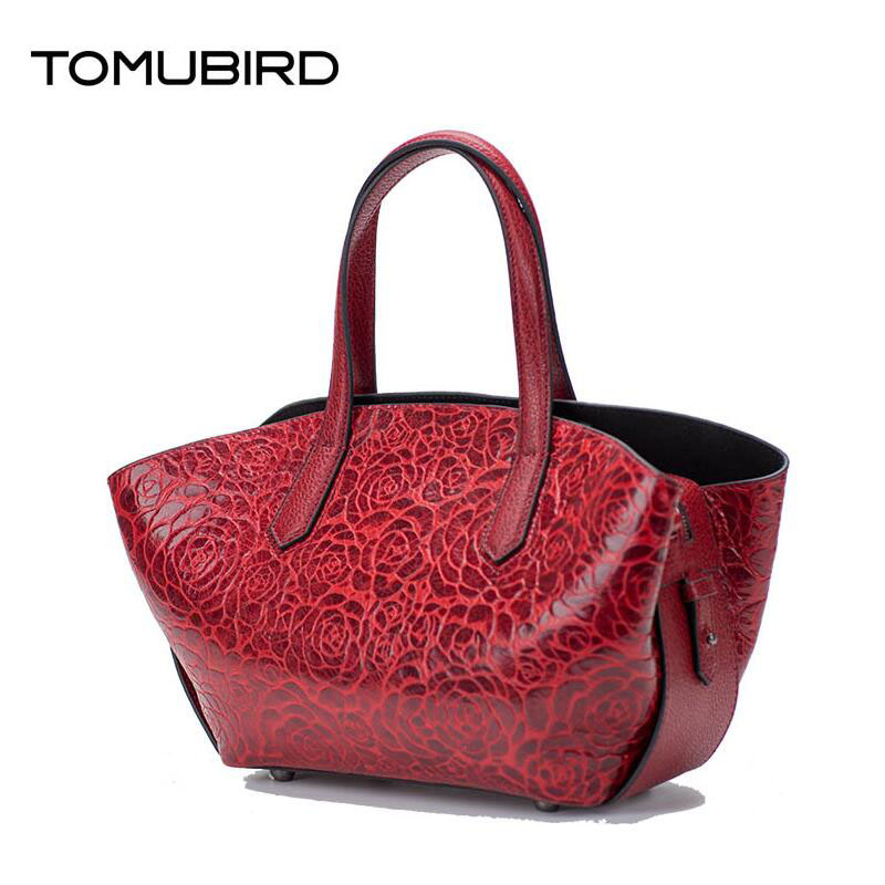 TOMUBIRD 2017 new superior leather designer famous brand women bags fashion Embossed rose genuine leather Luxury handbags