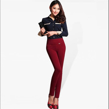 Female Autumn Oversized High elastic Waist thick Trousers woman plus size solid Winter plus velvet stretch warm Pencil Trousers