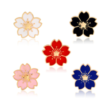 Cartoon Cherry Blossoms Flower Brooch Red Blue Pink White Black Pins Button Jacket Clothes Bag Lapel Pin Badge for girls boys