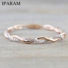 Розовое золото цвет твист классический кубический цирконий Свадебное обручальное кольцо для женщин девочек Австрийские кристаллы подарок кольца Bague Femme
