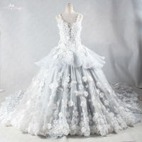 RSW959 Luxury Handmade Flowers Real Photo Ball Gown Long Tail Lace Backless Princess Gothic Wedding Dresses