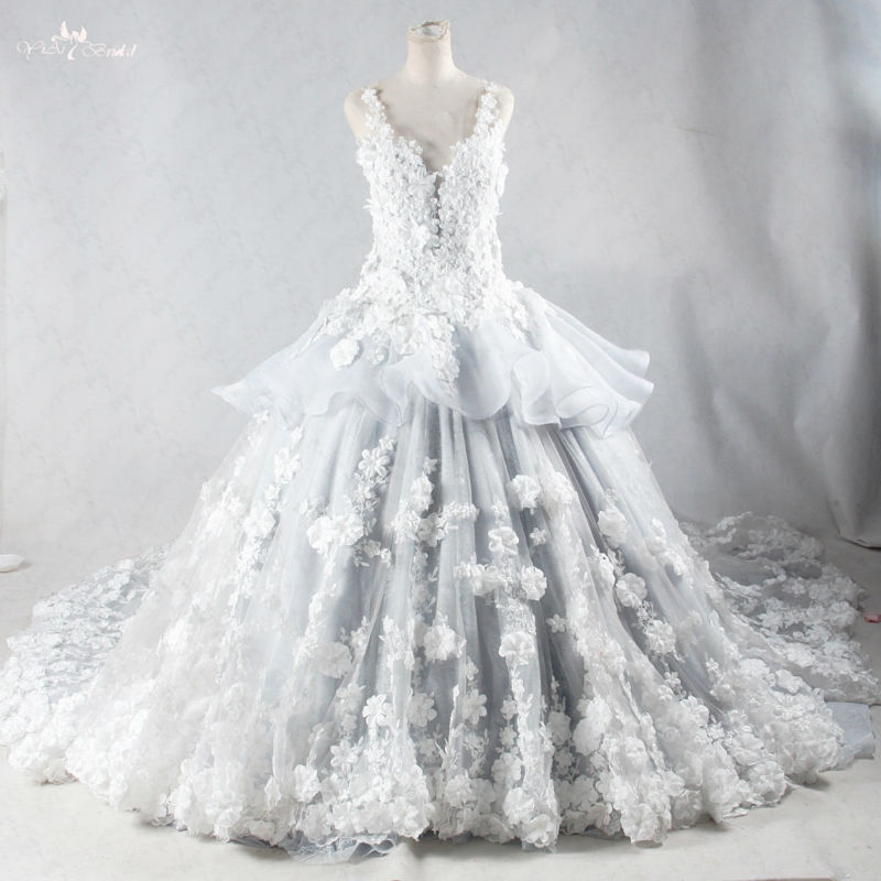 Discount Black And White Gothic Wedding Dresses Real: RSW959 Luxury Handmade Flowers Real Photo Ball Gown Long