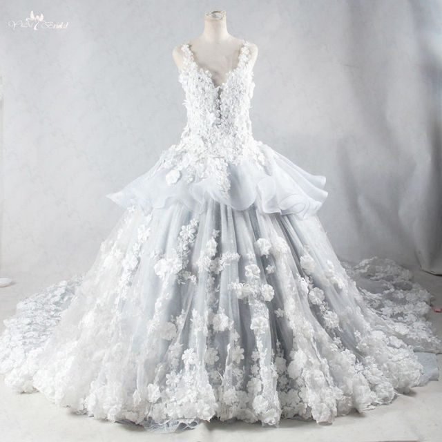 RSW959 Luxury Handmade Flowers Real Photo Ball Gown Long Tail Lace ...