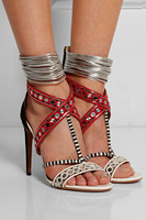Fashion high thin heel lace up peep toe mixed color sexy and beautiful sandals for woman in summer big size 35 41