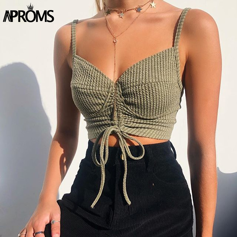 Aproms Cool Girls Knitted Cropped Camis Women Sexy Adjustable Strap   Tank     Tops   Ladies Streetwear Slim Fit Ribbed Crop   Top   2019