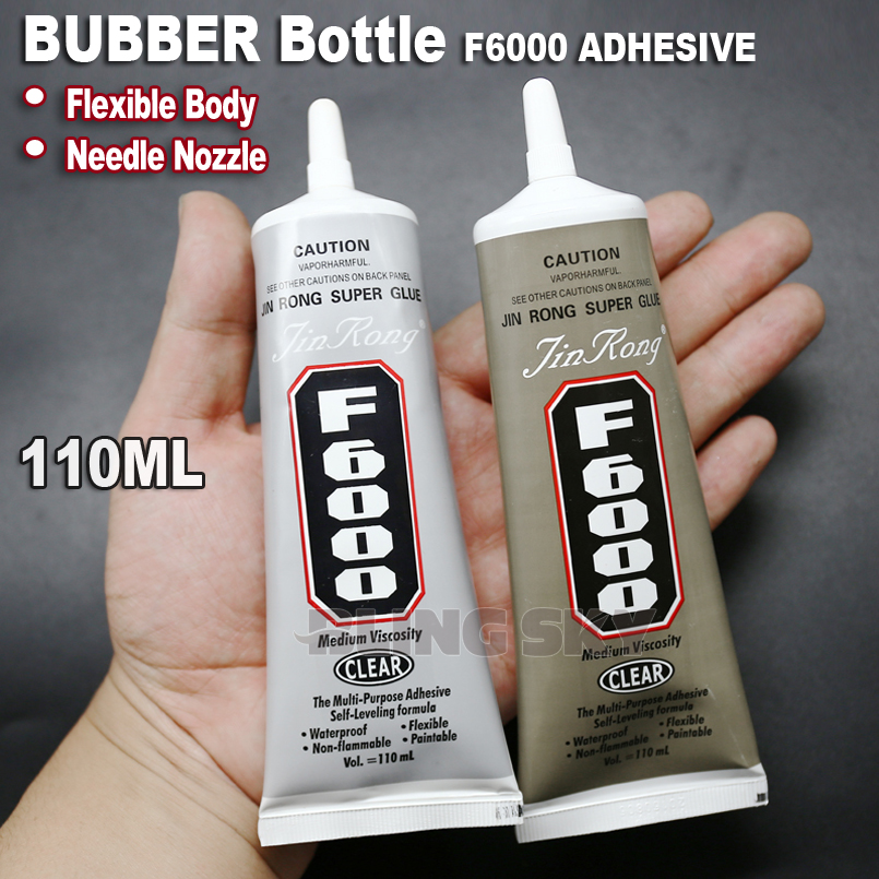F6000 110ml Needle Nozzle Adhesive Glue,Rubber flexible body clear gel multi purpose for DIY nail jewelry crystals rhinestones