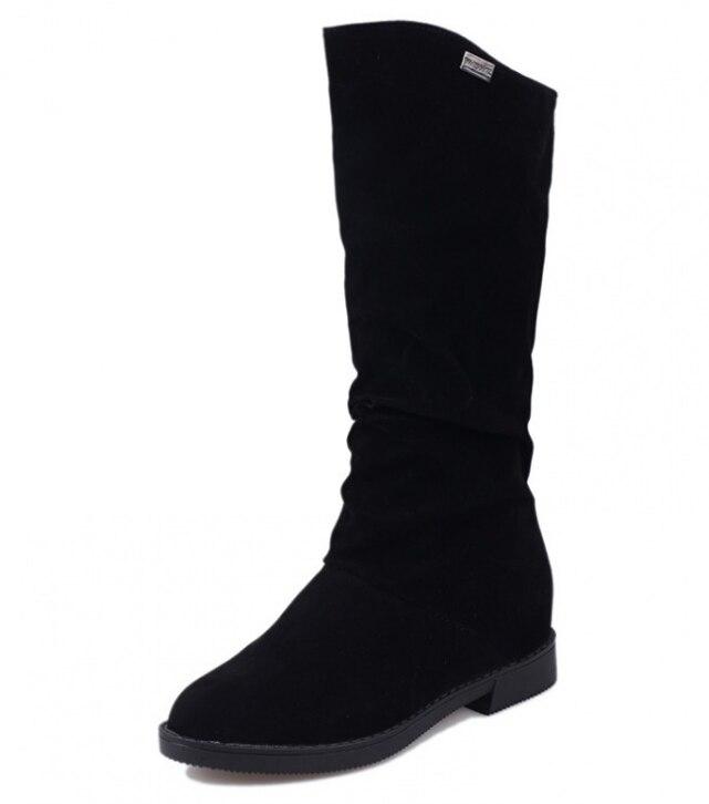 Huanqiu 2018 Осенне-зимняя обувь ботинки из замши на плоской подошве с внутренним высокие сапоги обувь на плоской подошве из матовой обтянутая кожей женские ботинки ZLL201