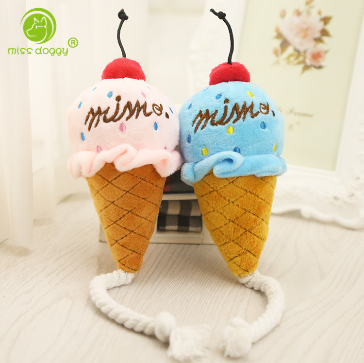 MISS DOGGY Summer Ice Cream Squeaky Dogs Chew Toys Cotton Animal Type Pet Toy Puppy Dog Training Tool for Dogs Sound Bite Toy