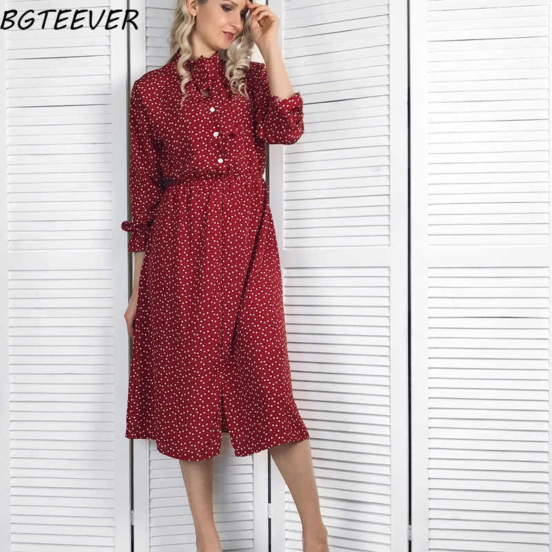 BGTEEVER элегантный воротник-стойка в горошек шифоновое женское платье с расклешенными рукавами с разрезом сбоку женское платье 2019 весна женское миди Vestidos