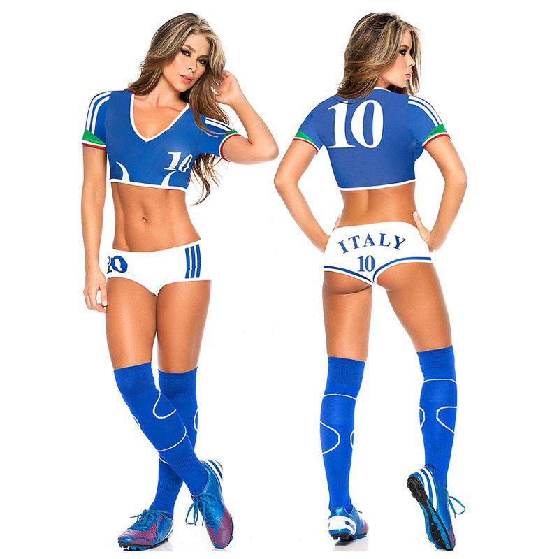 Lady Football Baby Cheerleader Costume Sexy Sport Baby Cheering Fancy Dress New Top Shorts Set Player Soccer Uniform Clothing