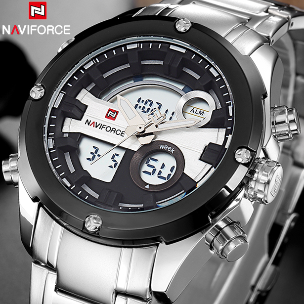 Watches Men Naviforce Brand Men Full Steel Military Watches Men's Quartz LED Sports Wrist Watch Male Clock Relogio Masculino naviforce men s military sports watches men led digital watch waterproof full steel quartz watches man clock relogio masculino
