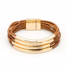 Multilayer Gold Color Bucket Brown Wax Line Bracelet 2017 New All-Match Bracelets For Women Bileklik Pulseira Feminina