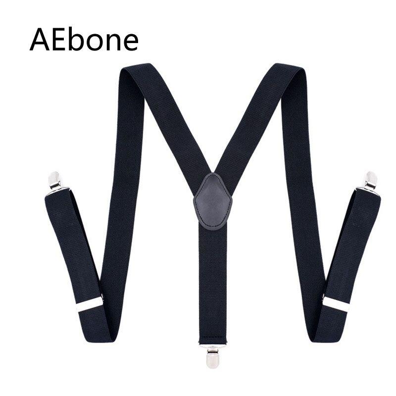 AEbone Black Suspenders for Men 3 Clip Y-sharp Strap Braces Trousers Bretelles Hommes Navy Suspensorio Man 3.5*120cm Sus25
