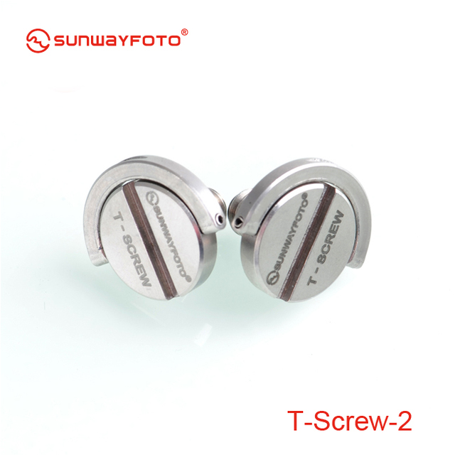 "SunwayFoto T-SCREW *2 Stainless Steel 1/4"" D-Ring T-Screw for Quick-Release Plates"