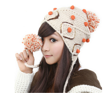 4 Colors Cute Soft Ear Muff Knitted Beanie Hat Women Winter Warm Color Matching Peas Cap