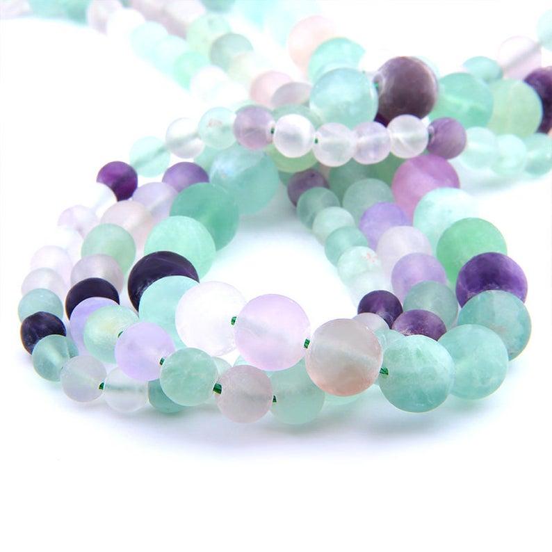 Fluorite Matte Beads, Natural Gemstone Beads, Purple Green Fluorite Beads, Round Stone Beads, Fluorite Beads 6mm 8mm