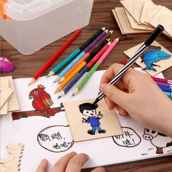 55 Pcs çocuk çizim Oyuncaklar Ahşap Boyama Seti Diy Beraberlik