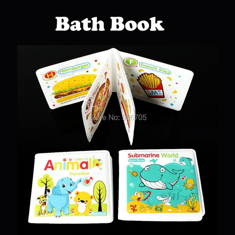 Vattentät bad bok för barnen leker bad tid lära leksaker djur, mat vattentäta böcker söta tidig barndomsutbildning leksaker