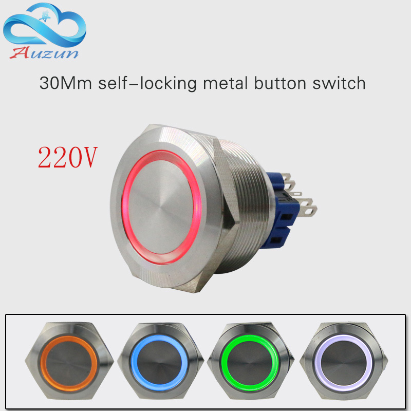30mm self-locking metal button with light switch  voltage 220v current 5A250VDC waterproof rust red, yellow blue  white tn2ss rotary button switch gear selection type 2 22mm with self locking