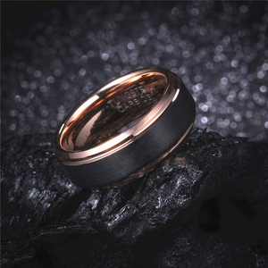 Image 5 - 8mm/6mm/4mm Black & Rose Gold Mens Tungsten Carbide Wedding Band for Boy and Girl Valentine Rings Russian Women Cool Jewelry