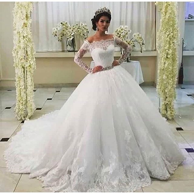 Новое Прибытие Африки Свадебные Платья Старинные Свадебные Платья С Длинными Рукавами Бальное платье 2017 Белое Кружево Невесты Платье Robe De Mariage