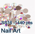 Big Sale SS16 1440pcs Crystal  AB Round Flatback Nail Art Rhinestones For Nails Art Cell Phone And DIY