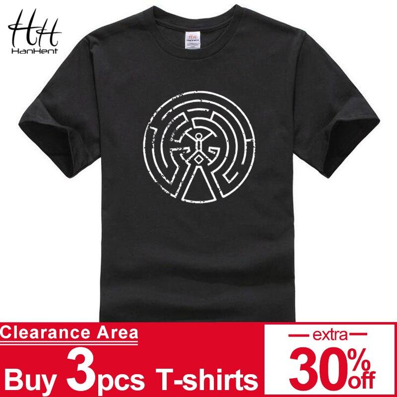 HanHent Westworld Maze Men Cotton   T     Shirts   2018 Short Sleeve O-neck West World Male Casual   T  -  shirt   Bodybuilding Fitness Clothing